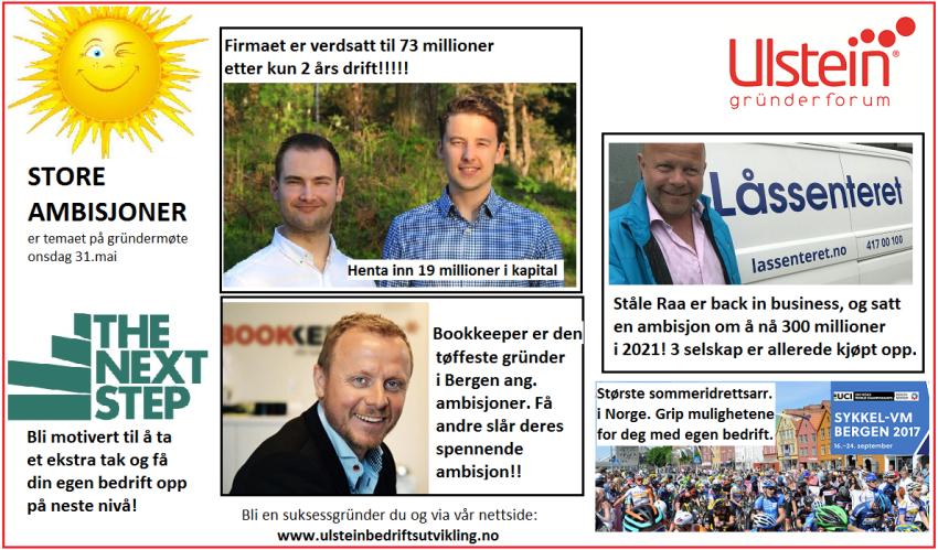 Ulstein Gründerforum inv gründermøte onsdag 31.mai 2017